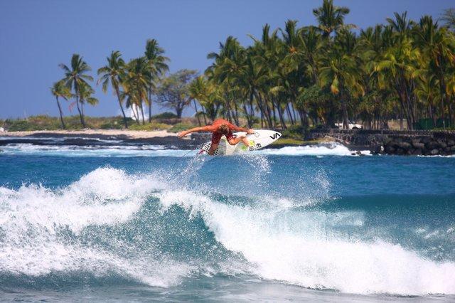 Surfing in Kona