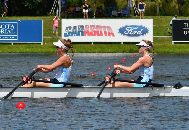 Camille Eggers (left) & Maile Nelson (right) racing in the U19  Quad, which is a 4 person boat where each rower has 2 oars..jpeg